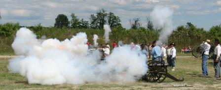 Cannons firing by battery