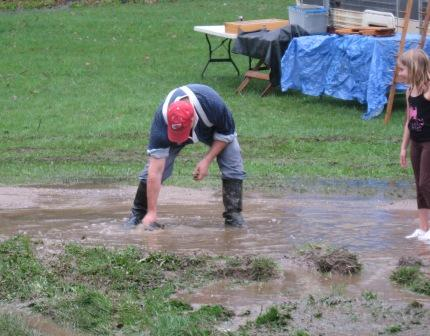 Rob Trost playing in the mud
